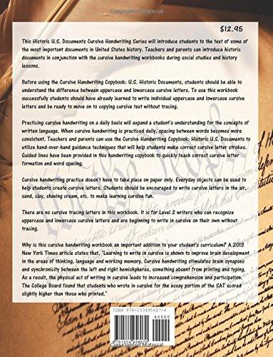 Cursive Handwriting Copybook: U.S. Historical Documents ...
