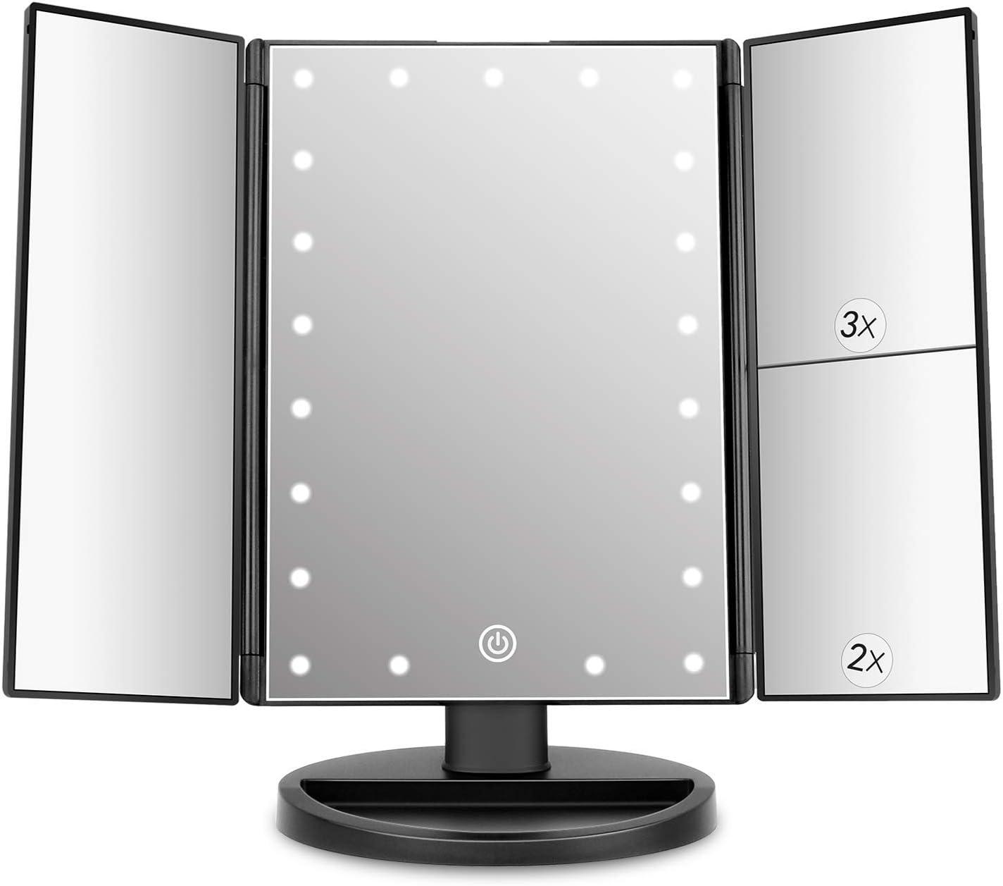 deweisn - Espejo de Maquillaje con 21 ledes, Espejo de Vanity Trifold con Rueda de 180°, Aumento 1 x / 2 x / 3 x Espejo para la Pantalla táctil para el