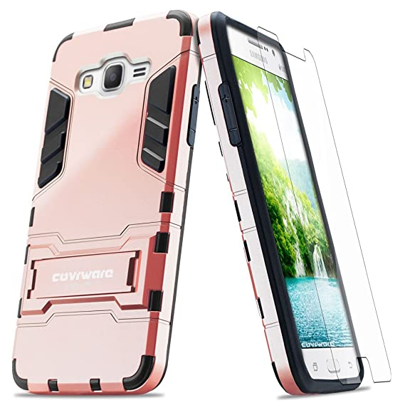 low priced 0479b fd1c3 COVRWARE Samsung Galaxy Grand Prime Case - [Slim Series] Armor Protective  Case [Kickstand] [Slim Fit] [Screen Protector]- Rose Gold (CW-G530-SL13)