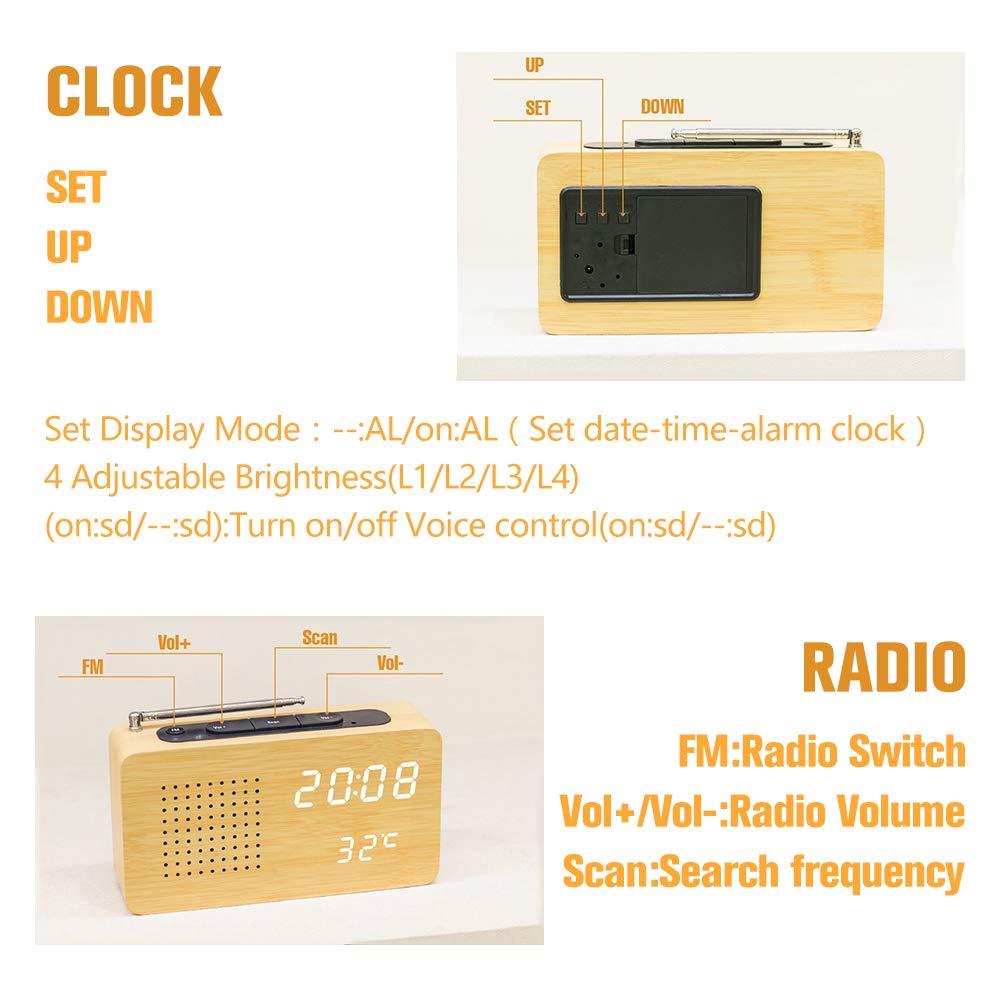 LAOPAO Despertador Reloj de Escritorio Pantalla LED Radio Reloj de Alarma de Madera Despertador Reloj con Ajuste Automático de Brillo para Oficina ...