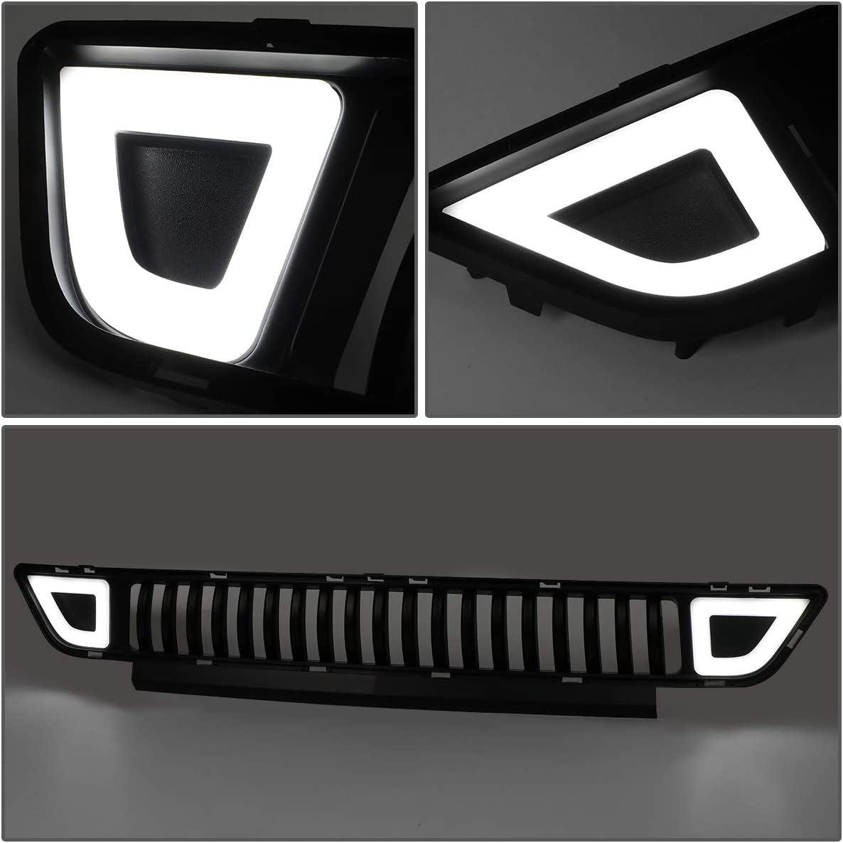 DNA Motoring GRF-LB-FM15-T2Z-FL Front Lower Bumper Grille Grill w//LED DRL For 15-17 Ford Mustang