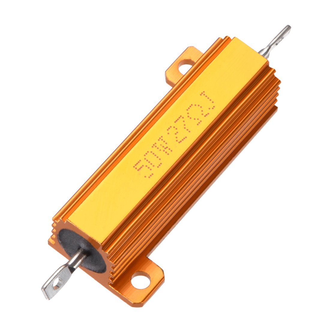 sourcingmap 50W 27 Ohm 5/% Aluminum Housing Resistor Screw Tap Chassis Mounted Aluminum Case Wirewound Resistor Load Resistors Gold Tone 1pcs