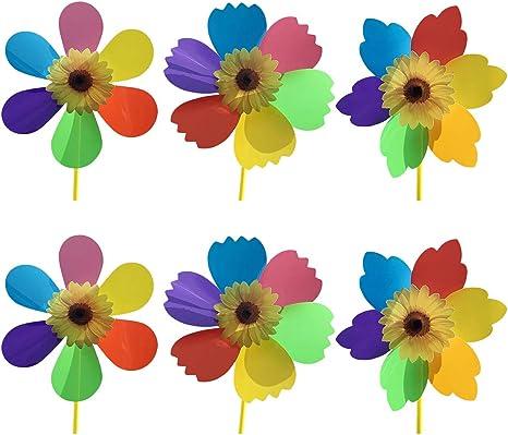 Joyibay 6PCS Molinillo De Viento Decorativo para Niños Molinillo De Viento Molino De Viento Spinner para Jardín: Amazon.es: Deportes y aire libre