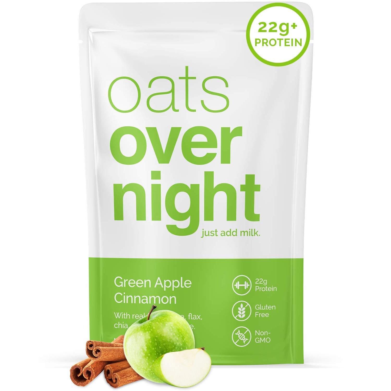 Oats Overnight - Green Apple Cinnamon (16 Meals)High Protein, Low Sugar Breakfast Shake - Gluten Free, High Fiber, Non GMOOatmeal(2.7oz per meal)