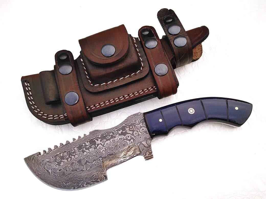 Ottoza Custom Handmade Damascus Tracker Knife with Micarta Handle - Survival Knife - Camping Knife - Damascus Steel Knife - Damascus Hunting Knife with Sheath Horizontal Scout Knife No:87