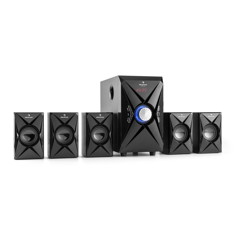 auna X-Plus Home-cinéma • Système de son Surround 5.1 • 70 Watt RMS • Mode Pro Logic • Bluetooth • Tuner radio FM • Écran LED • Port USB • Carte SD • Lecteur MP3 • Entrée AUX &bu