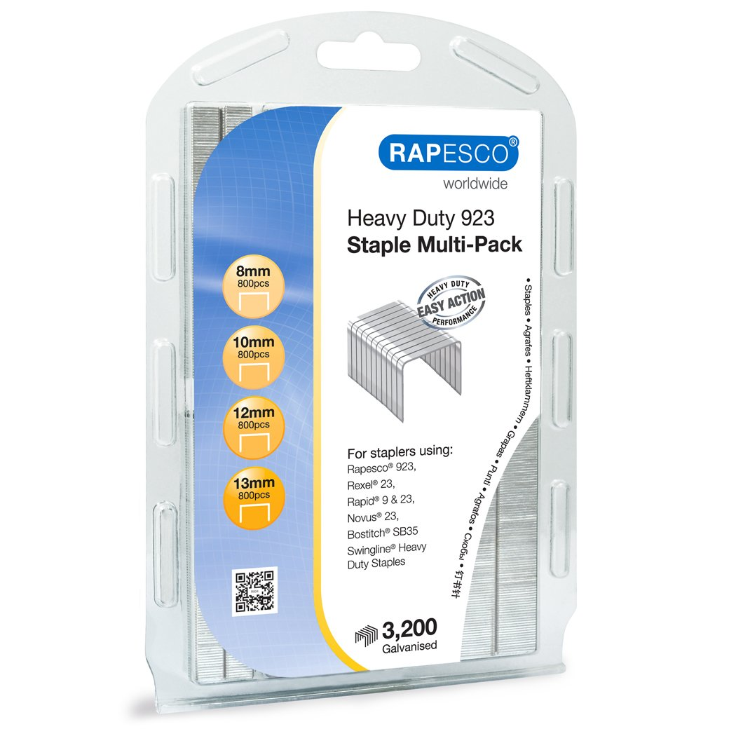 "Rapesco Heavy-Duty 923 (Type 23) Staple Multipack 5/16""-1/2"", Resealable Pack of 3,200 Staples (1246)"