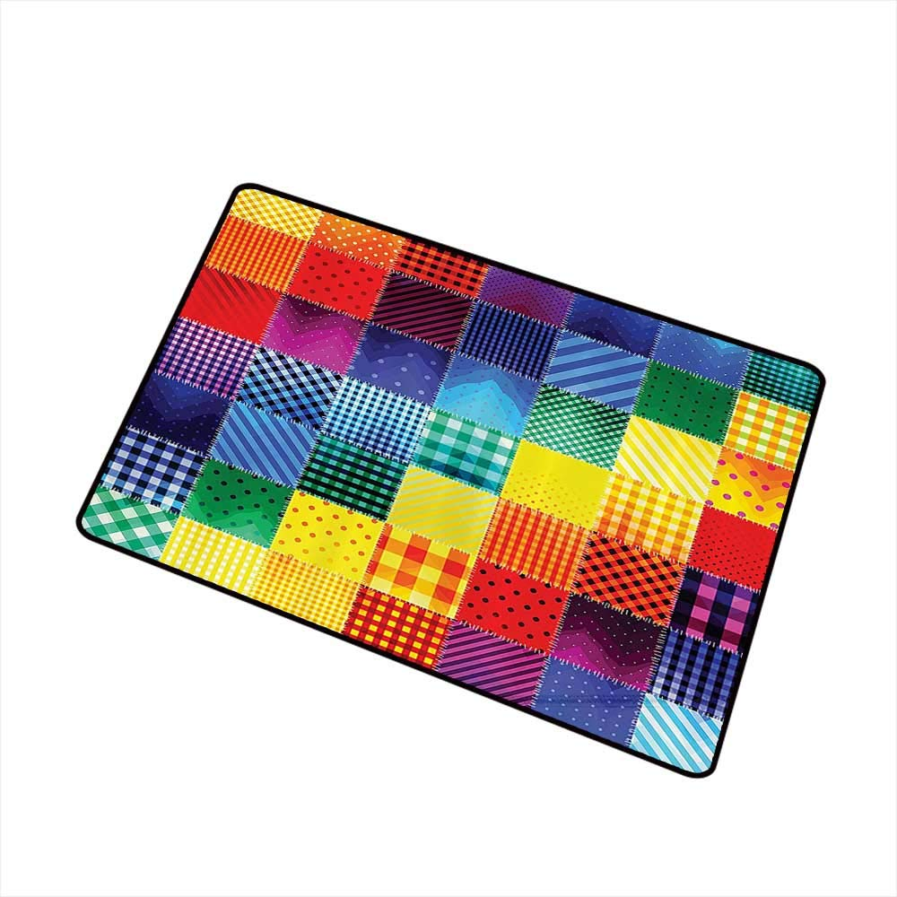Jbgzzm Pet Door mat Farmhouse Decor Rainbow Colored Square Shaped Diverse Patterns Collection with Diagonal Forms W30 xL39 with Anti-Slip Support Multi by Jbgzzm
