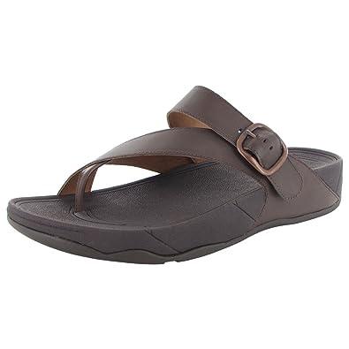091f9a648f0b6c Fitflop Mens Sling Adjustable Toe Post Slide Sandal Shoes Brown Size  12 UK