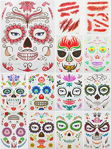 36 Sheets Halloween Temporary Face Tattoos Day of the Dead Sugar Skull Full Face Mask Tattoo,Bleeding Wound Scar Tattoos Stickers for Women Men Adult Kids Halloween Party Favor Supplies
