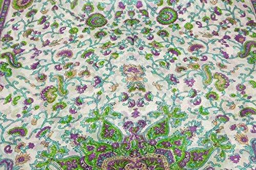 Foulard Gamme Traditional de Soie Motif Tapti Citron Vert de Pashmina & Silk