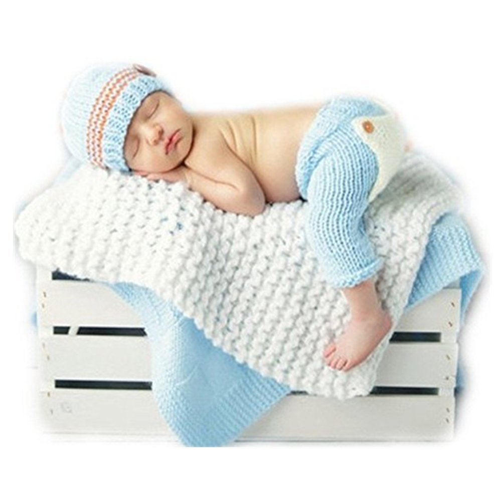 Newborn Baby Photography Props Boy Girl Photo Shoot Outfits Crochet Knitted Hat Pant Coberllus