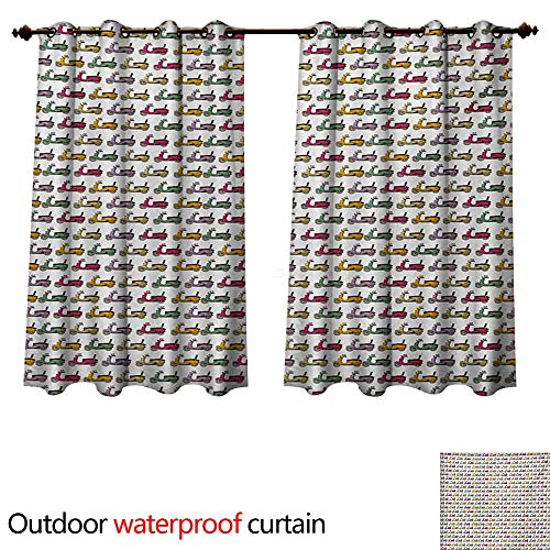Bella Round Mirror - WilliamsDecor Motorcycle Outdoor Curtain for Patio Cartoon Style Scooters with Seatbacks and Round Mirrors Showing Off in Parade W72 x L72(183cm x 183cm)