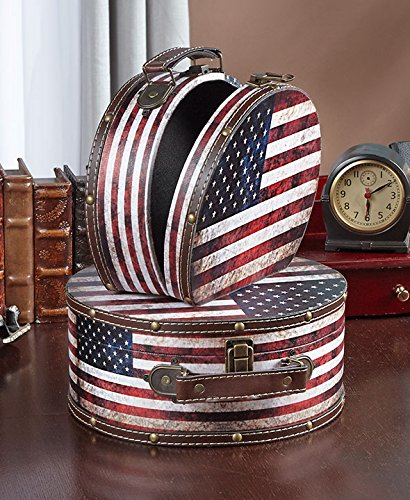 Set of 2 American Flag Storage Cases Patriotic Americana Home