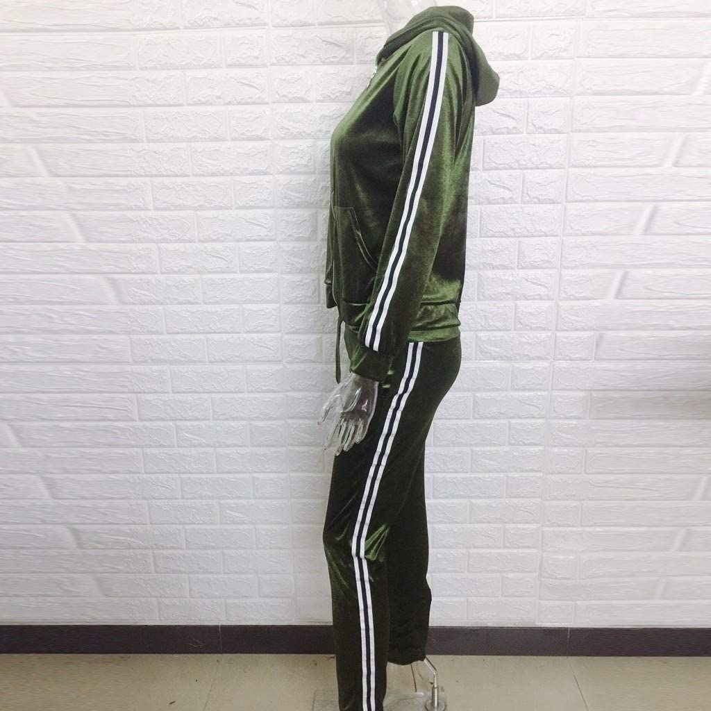 Women Velour Sweatsuit Sets Side Striped Zipper Sweatshirt Long Sleeve and Long Pants Tracksuit Sportswear for Fall Winter