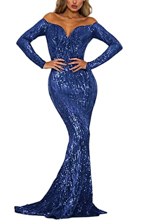 8f30b0571a2f Ohvera Women's Off Shoulder Sequined Long Sleeve Party Cocktail Evening Prom  Gown Mermaid Maxi Long Dress