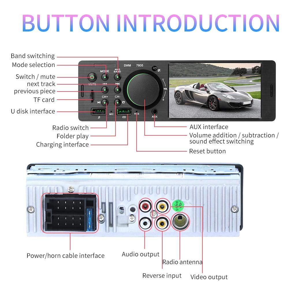 4,1 Pouces connectable /à la cam/éra de recul Fonction Bluetooth st/ér/éo Lecteur MP5 Radio FM 1 Radio Voiture /à /écran Tactile pour Voiture