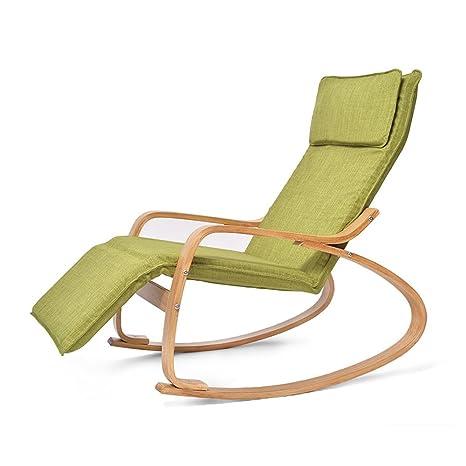 Amazon.com: Silla mecedora de madera maciza, silla de ocio ...