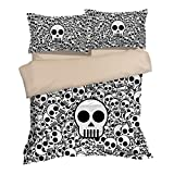 Amazing Skull Puzzle Cotton Microfiber 3pc 80''x90'' Bedding Quilt Duvet Cover Sets 2 Pillow Cases Full Size