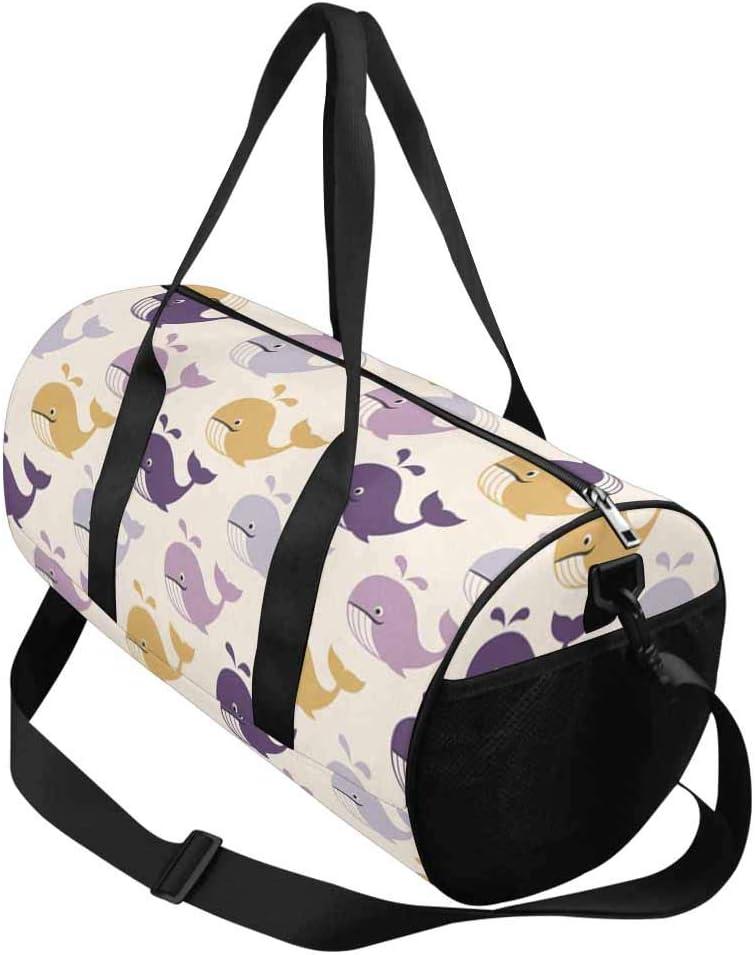 INTERESTPRINT Cute Whales Cartoon Lightweight Carry-on Travel Duffel Bag