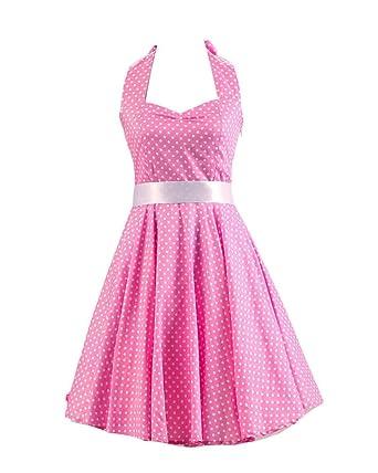 MISSMAO Damen 50s Vintage Tupfen Retro Rockabilly Kleid Neckholder ...