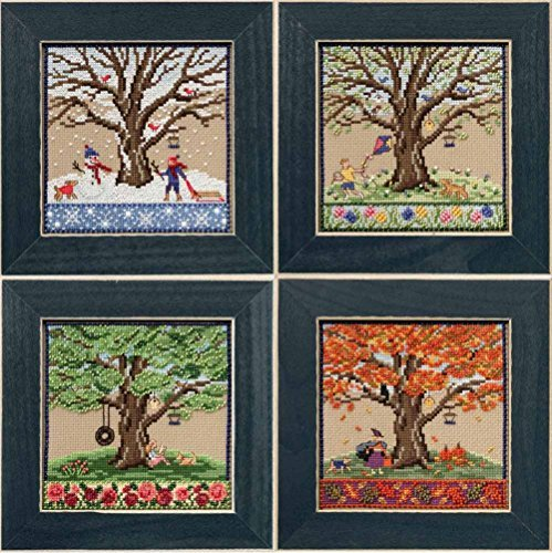 Mighty Oak Beaded Counted Cross Stitch Kits 2017 Mill Hill Quartet (Set of 4: Fall, Spring, Summer, Winter) by Mill Hill (Image #1)