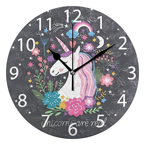 - ALAZA Cute Unicorn with Rainbow Stars Round Acrylic Wall Clock, Silent Non Ticking Oil Painting Home Office School Decorative Clock Art