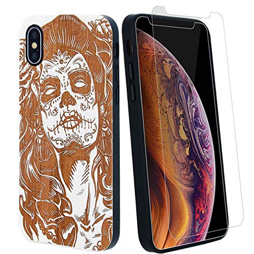 Sugar Skull Lady Girl Phone Case Compatible with iPhone X, XS Includes 9H Glass Screen Protector, Wireless Charging Compatible