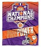 NCAA Clemson Tigers Revere 2016 National Champions High-Definition Silk Touch Throw, Regalia, 50' x 60'