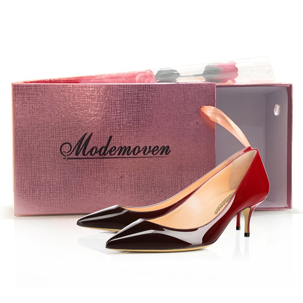 f02e172391985 MODEMOVEN Women's Red Black Patent Leather Pointed Toe Kitten Heels  Gorgeous Pumps Evening Stiletto Shoes 5.5CM - 11 M US