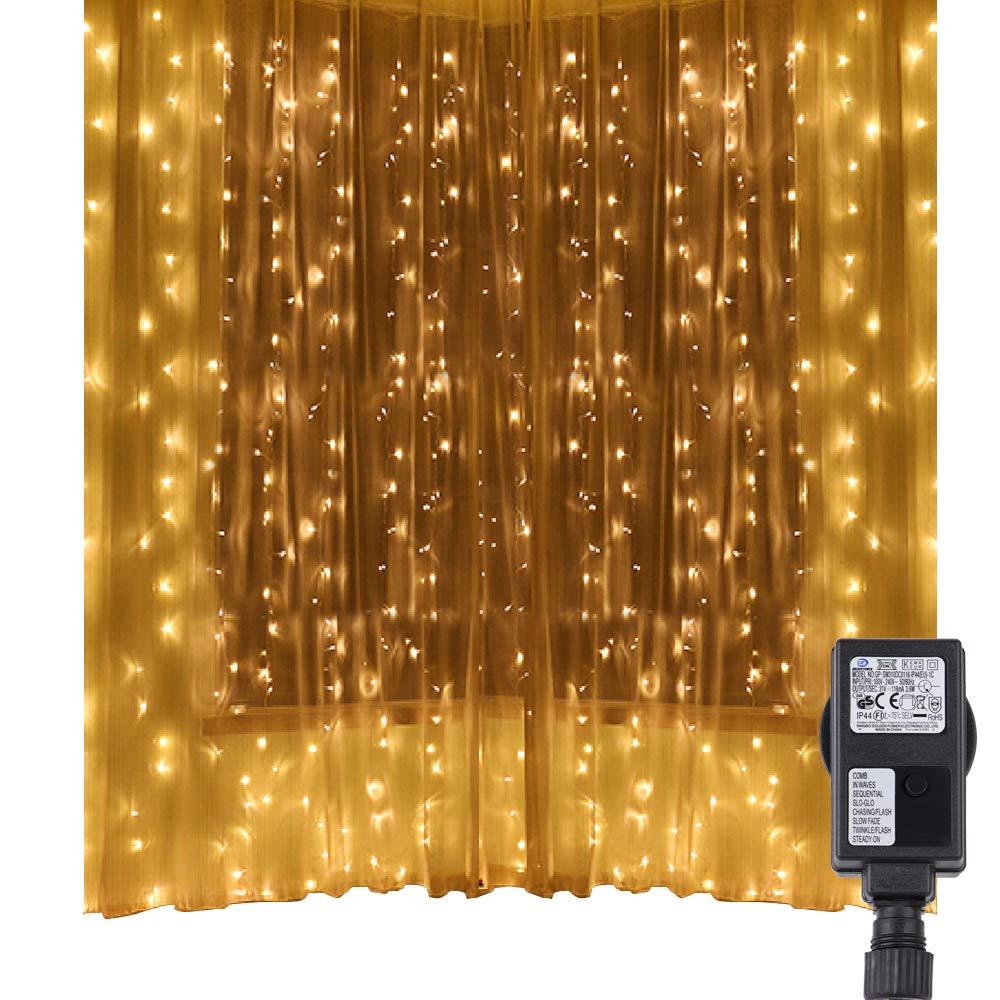 Speclux Luci Cascata per Finestra Balcone 3m x 3m, 300 LED, 8 Modalità, Funzione Memoria, Impermeabile IP44 Lucine fatate romantiche per Decorazione Feste Natale Luce (Bianco) SP-SLDW03-CW