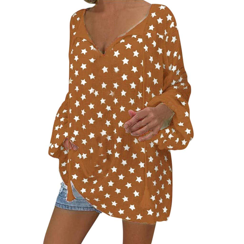 Plus Size Shirt for Women Star Print Solid Top Blouse V Neck Bandage Pullover Tunics Tank