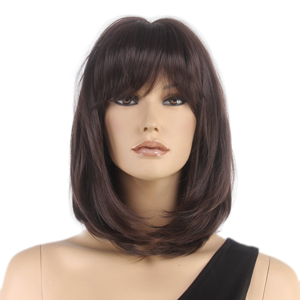 STfantasy Bob Wig Bangs Brown Shoulder Length Straight for Women Cosplay Costume Synthetic Hair 16''
