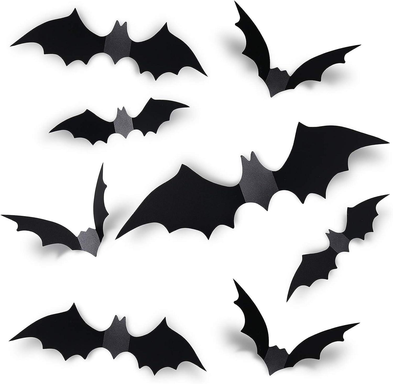 Halloween Adesivi Murali Pipistrello 108 Pezzi 3D Adesivo Pipistrello Spaventoso Nere Rimovibili per Pipistrelli per Forniture per Feste domestiche di Halloween,Nere