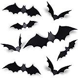 Coogam 60PCS Halloween 3D Bats Decoration 2020 Upgraded, 4 Different Sizes Realistic PVC Scary Black Bat Sticker for…