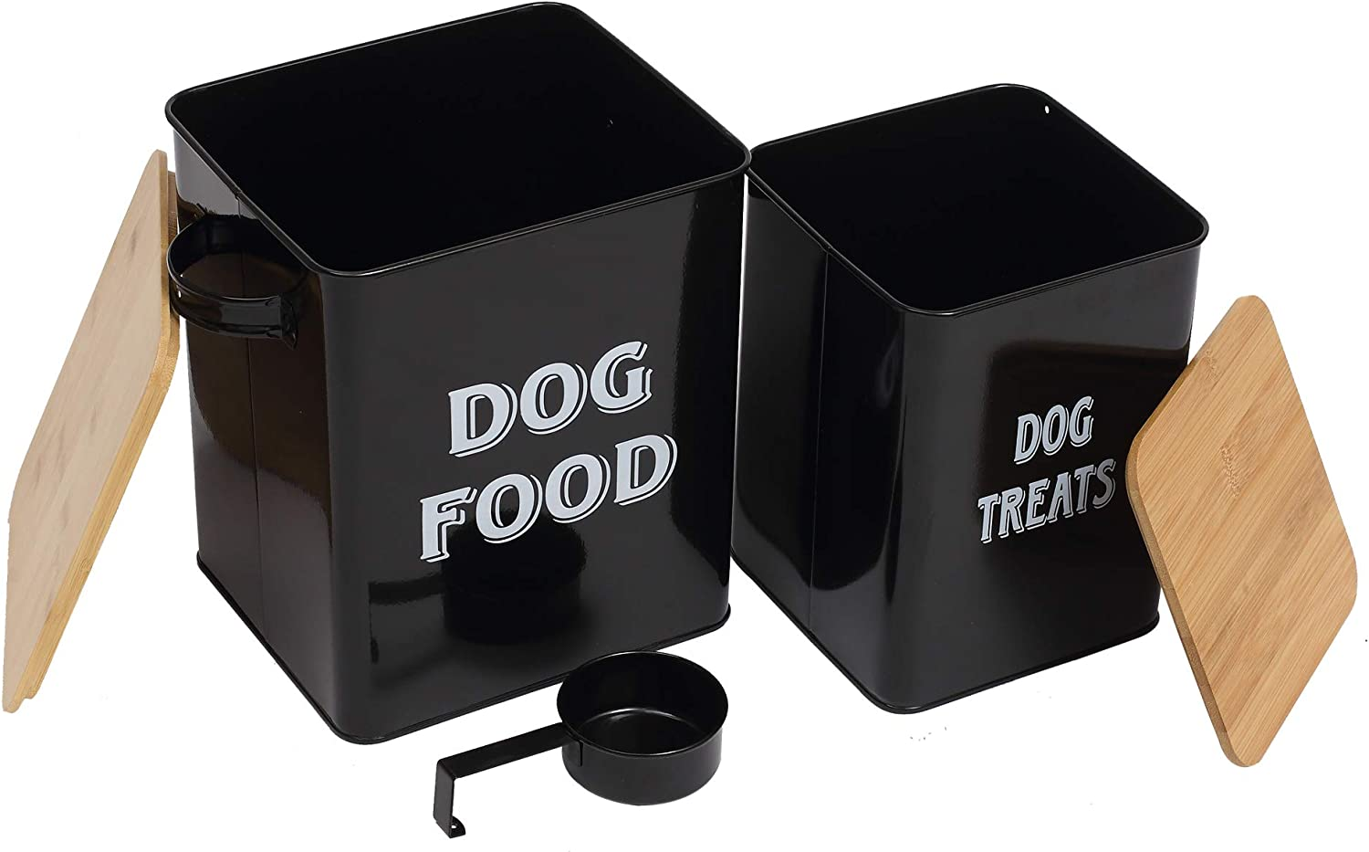 Pet Food and Treats Containers Set with Scoop for Cats or Dogs - Beige Powder-Coated Carbon Steel - Tight Fitting Wood Lids - Storage Canister Tins - Dog Food - Black