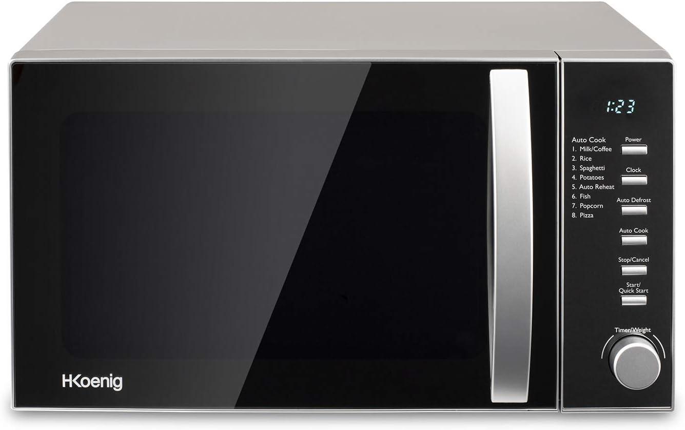 H.Koenig Four à Micro-ondes VIO2 Compact Digital 20L, 700W, Plateau tournant 24,5cm, Multifonction Programmable 6 niveaux de chauffe, Décongélation et Express, Minuterie 60min, Effet mirroir noir