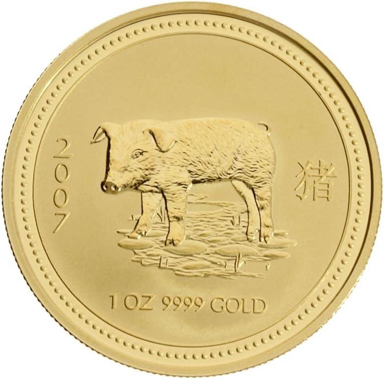 Perth Mint 1 oz Australien 100 AUD Lunar I Schwein 2007-1 Unze 999,9//1000 Gold gekapselt