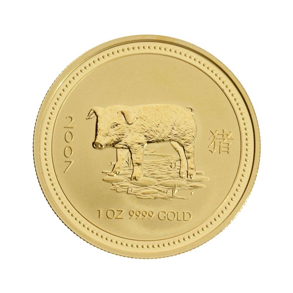 1 oz Australien - 100 AUD Lunar I  SchWeiß  2007 - 1 Unze 999,9 1000 Gold - gekapselt