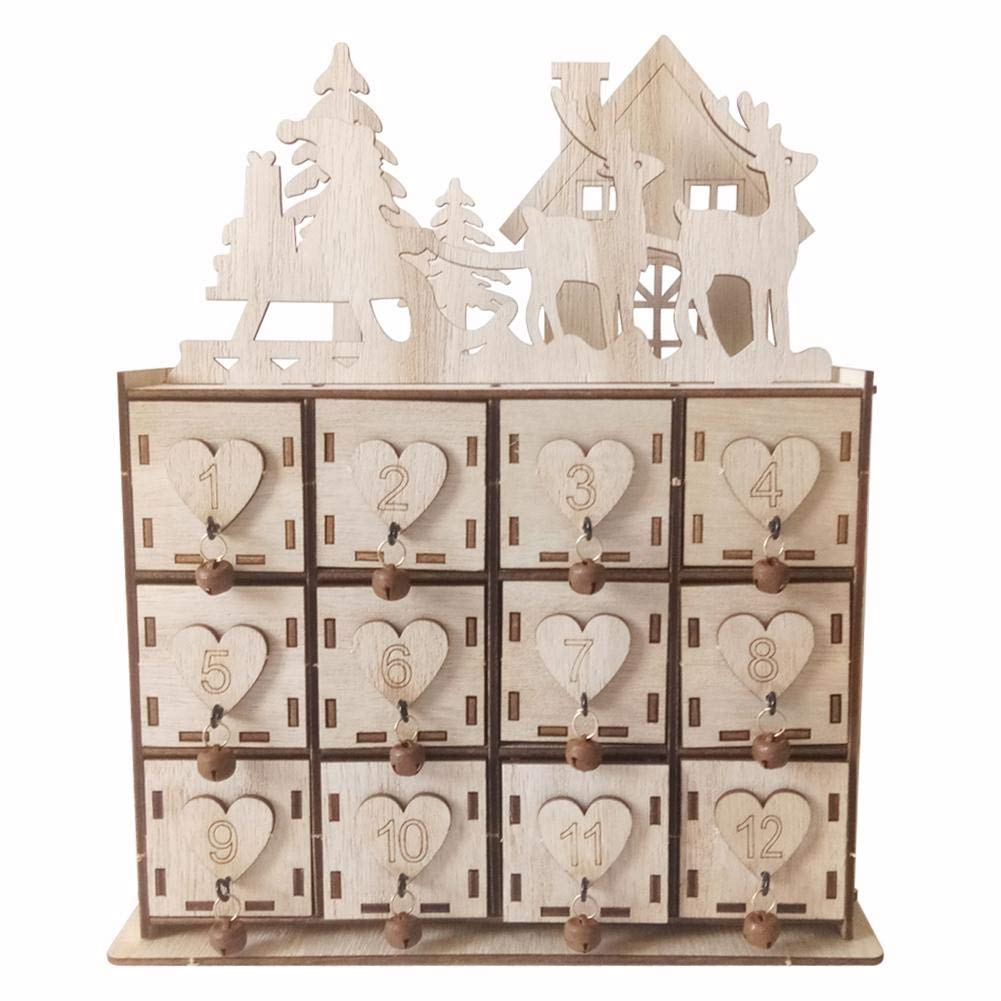 Tekijun Christmas Calendar Storage Box Wooden Jewelry Makeup Storage Box Innovative by Tekijun