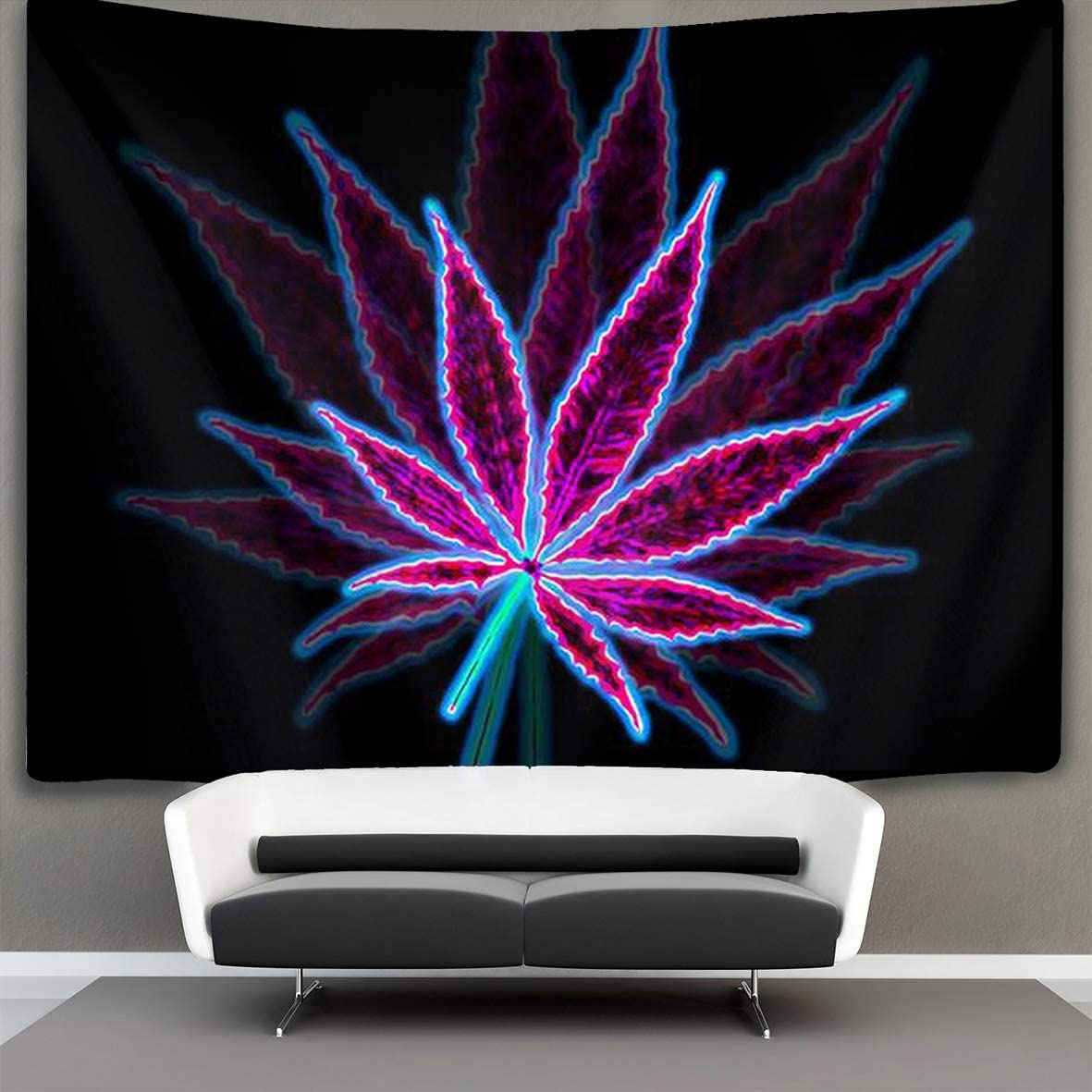 Tapestry Wall Hanging Marijuana Weed Leaf Purple Wall Tapestry with Art Nature Home Decorations for Living Room Bedroom Dorm Decor 60 X 90