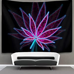 """Tapestry Wall Hanging Marijuana Weed Leaf Purple Wall Tapestry with Art Nature Home Decorations for Living Room Bedroom Dorm Decor 50"""" X 60"""""""