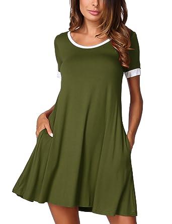 DJT Damen Kurzarm Casual Lose T-Shirt Mini Kleid Rundhals Sommerkleid mit  Taschen: Amazon.de: Bekleidung