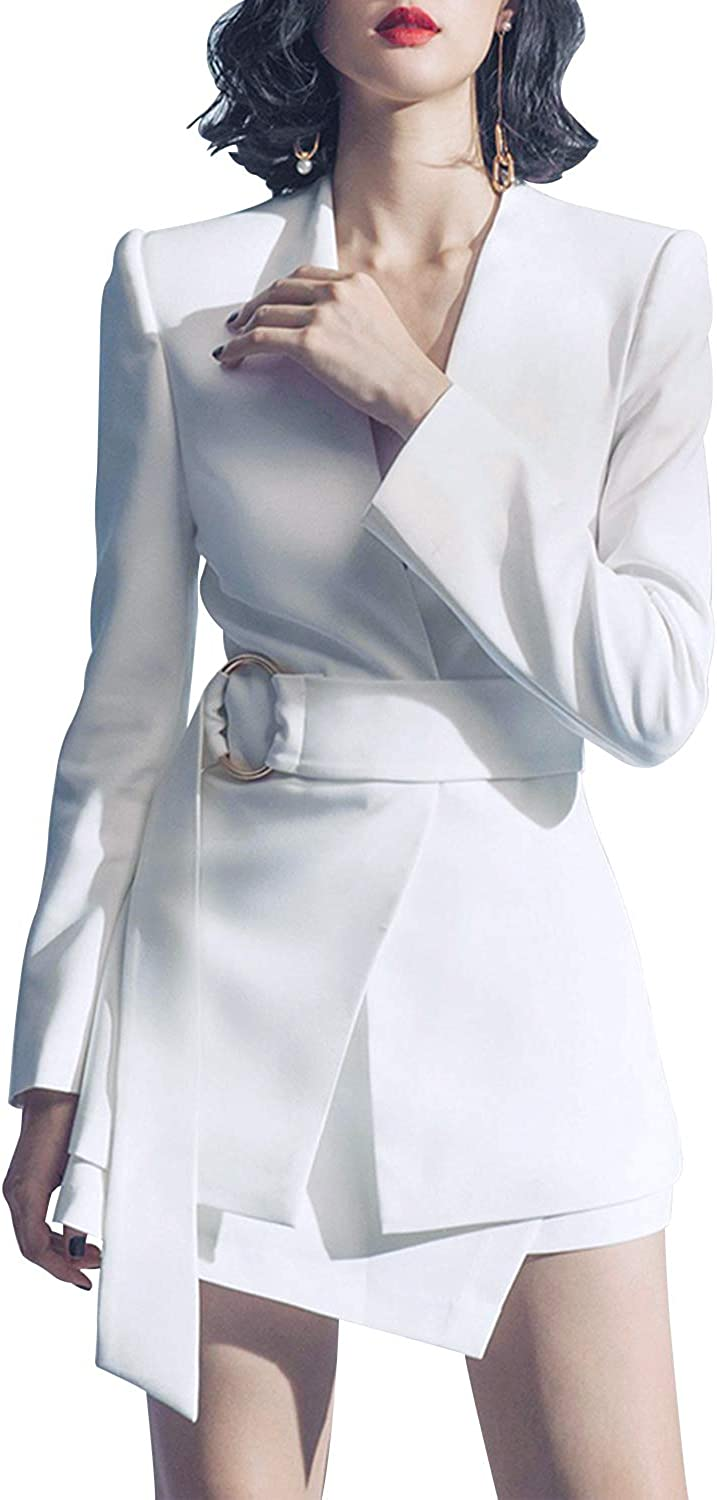 Sunlen V-Neck White Mini OL Elegant Outfits Blazer Dresses 2 Piece Sets for Women SL1BH5762