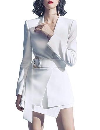 2d2b4a4e66f1 Sunlen Women's V-Neck White Mini OL Elegant Blazer Dresses 2 Piece  SL1BH5762 (White