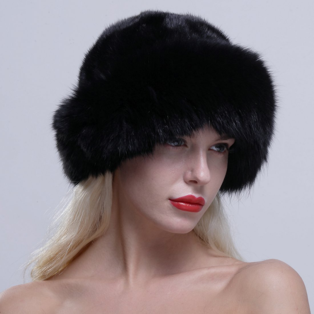 efbdb015edf URSFUR Women s Real Fox Fur Roller Hat with Mink Top Multicolor Black at  Amazon Women s Clothing store