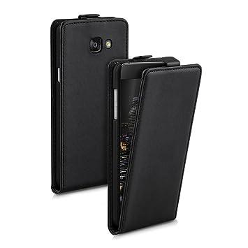 kwmobile Funda para Samsung Galaxy A5 (2016) - Carcasa para móvil de [Cuero sintético] - Case [Plegable] en [Negro]