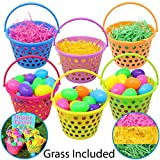 """Toys : 6 Pieces 8"""" Easter Egg Baskets with Handle and 55 g Tricolors Easter Grass for Easter Theme Garden Party Favors, Easter Eggs Hunt, Easter Goodies Goody, Basket Fillers Stuffers by Joyin Toy."""