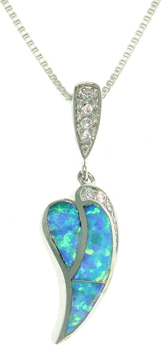 Jewelry Trends Sterling Silver Created Opal and Purple CZ Teardrop Pendant Necklace 18