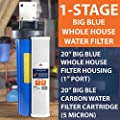"Big Blue 20"" Whole House Water Filter System (1""Port)+ Bracket+20"" Carbon Block"